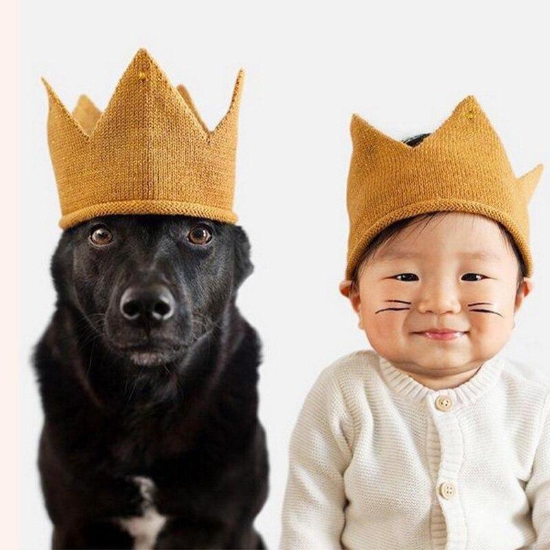 Детская шапка для девочек, вязаная шапка с короной для малышей, Пустой Топ, шапки для новорожденных, шерстяная пряжа, капот для детей, мягкие однотонные шапочки, Casquette