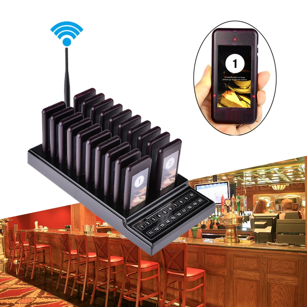 Restaurant Pager 20 Channel Wireless Calling System with 20 Receivers Waiter Guest Queue Calling Pager restaurante EU US AU UK