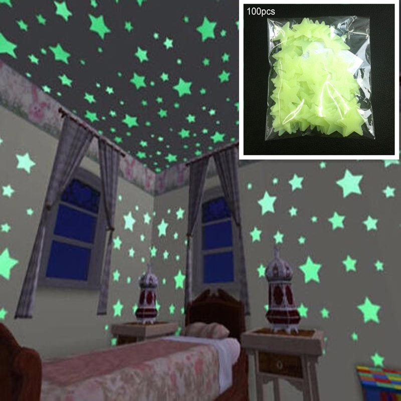 child s room wall stikers 100pcs 3d stars glow shine in the dark luminous wall glowing stickers for living room home decoration 100pcs 3CM 3D Luminous Star Wall Stickers Fluorescent Glow In the Dark For Home Kids Room living room Decal Free shipping