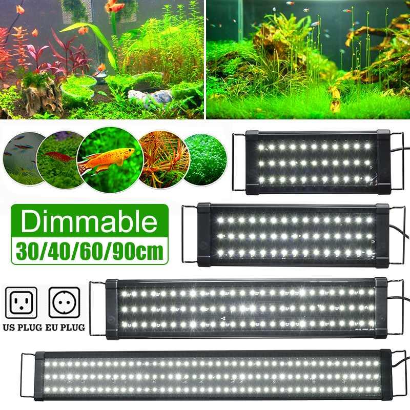 30/40/60/90cm super magro leds aquário iluminação aquática planta luz extensível à prova dlamp água clipe na lâmpada para 40-130cm tanque de peixes