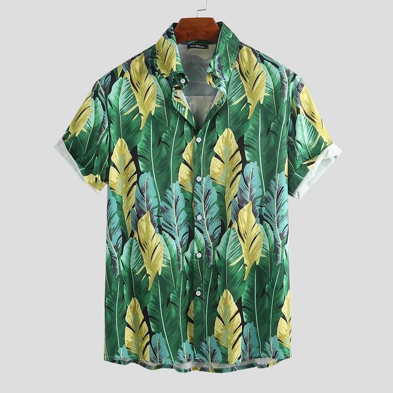 Camisa hawaiana con estampado de moda para hombre, camiseta informal de manga corta transpirable de marca, ropa de calle de verano para playa, camisas para hombre, Tops con botones