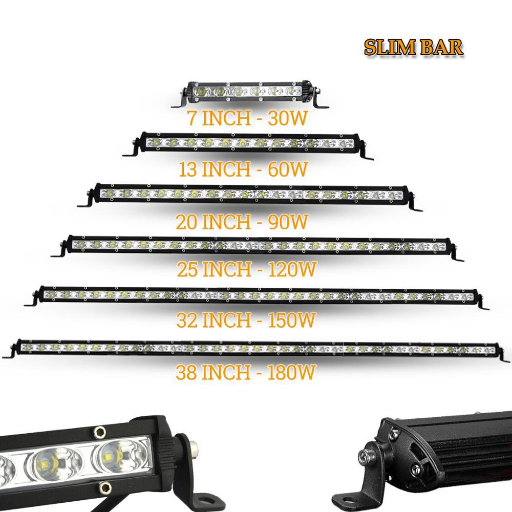 "Barra de luz LED de obra 12V 24V faros de coche fino lámpara de conducción 7 ""13"" 20 ""25"" 32 ""38"" para fuera de carretera 4x4 rampa de camión ATV"