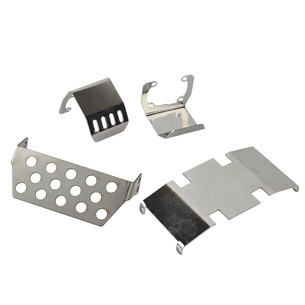 RC Acero inoxidable chasis armadura protección placa de deslizamiento Set para SCX10 II 90046 90047 1/10 coche trepador de control remoto
