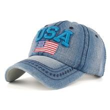 Caps For Men Women Retro USA Flag Embroidery Denim Baseball Cap Summer Strapback Casquette Hip Hop Hat Couples Snapback #L20