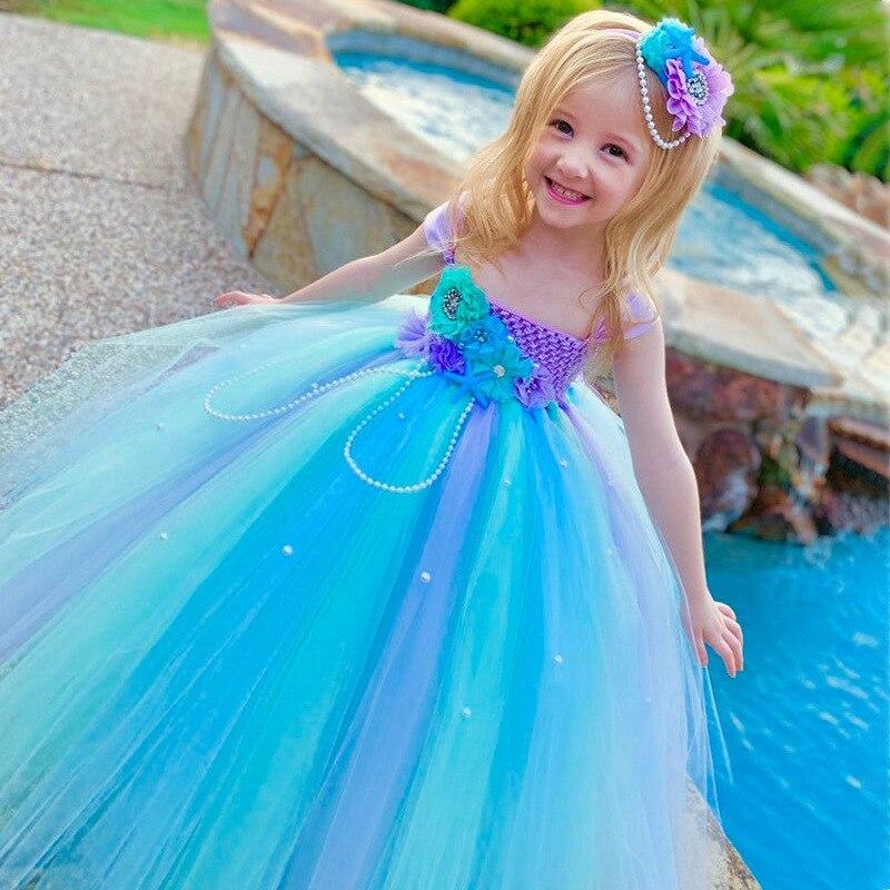 Blue Flower Girls Wedding Dresses for Kids Girls Summer Dress Ball Gown Evening Tutu Dress Girls Children Prom Princess Party
