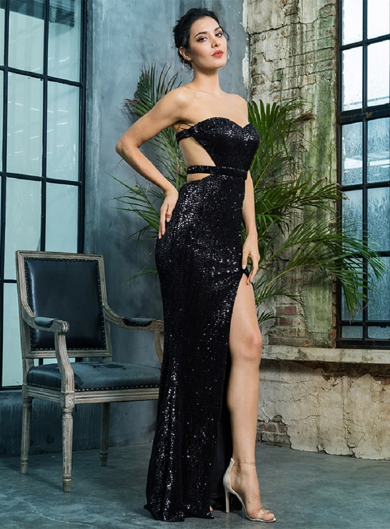 Women Tube Evening Gown Strapless Sequin Sexy Split long bridal wedding formal party dress