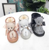 Winter Shoes Genuine Leather Boots Children Soft Bottom Slip Sarm Sotton Snow Boots Girl's Rhinestone Cartoon Waterproof Boots
