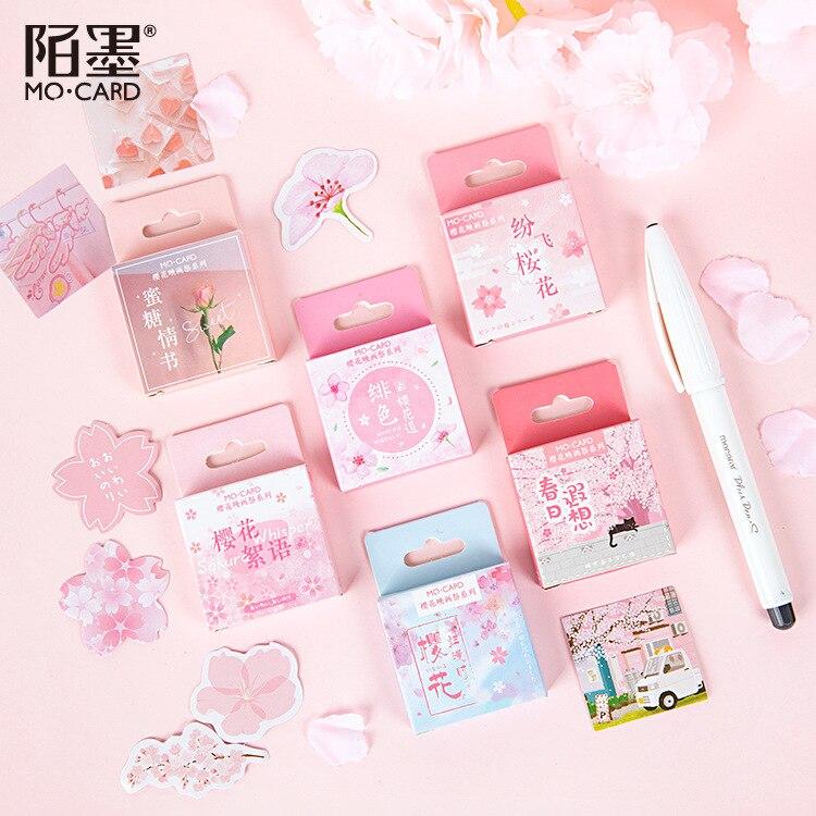 Romántica temporada rosa de pegatinas de etiquetas de diario Sakura DIY herramienta de álbum de recortes Etiqueta de sellado de alimentos papelería regalo