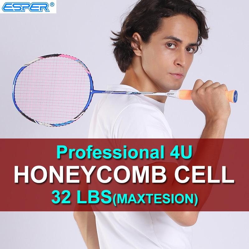 ESPER V4 Badminton Rakcet Professional 4U Lightweight Carbon Fiber Racquet Honeycomb Cell High Quality with String For Adult