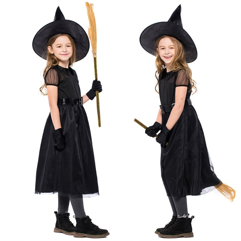1Set Kinder Mädchen Hexe Cosplay Kostüm Halloween Mesh Kurzarm Märchen Kleid Hut Taille Gürtel Handschuh Partei Rolle Spielen outfit