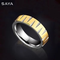 men tungsten rings 6mm width high polished 18k gold rings fashion hip hop free shipping customized
