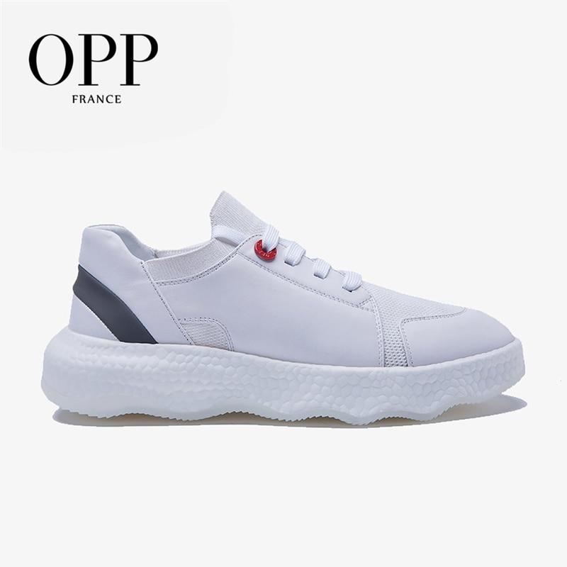 OPP أحذية رجالي جلد البقر الشقق أحذية أنيقة جلد طبيعي الدانتيل متابعة أحذية رياضية الرجال الاحذية أحذية رياضية