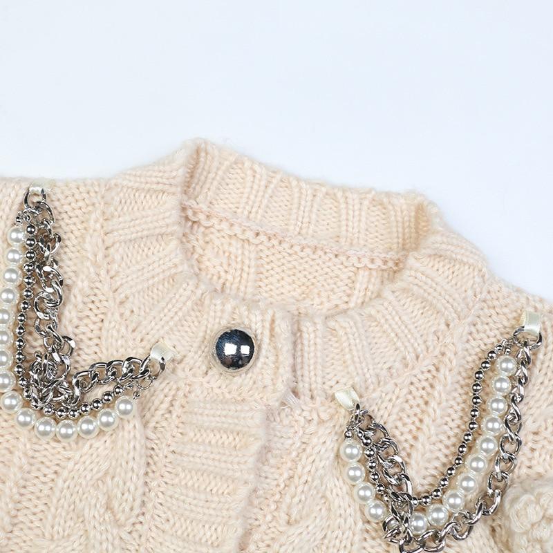 SHUCHAN Knit Sweater Women O-Neck Cropped Cardigan Women Winter Thick High Street  Beading  Acrylic Spandex Autumn enlarge