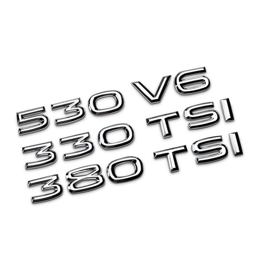 3d metal 530 v6 330 380 tsi etiqueta do carro decalque traseiro trunk deslocamento calibre emblema emblema para volkswagen honda lada granta assento