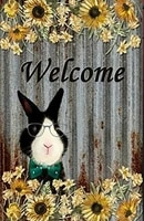 metal plate sign welcome bunny plaque bar pub vintage retro wall decor poster home club 12x8 inch