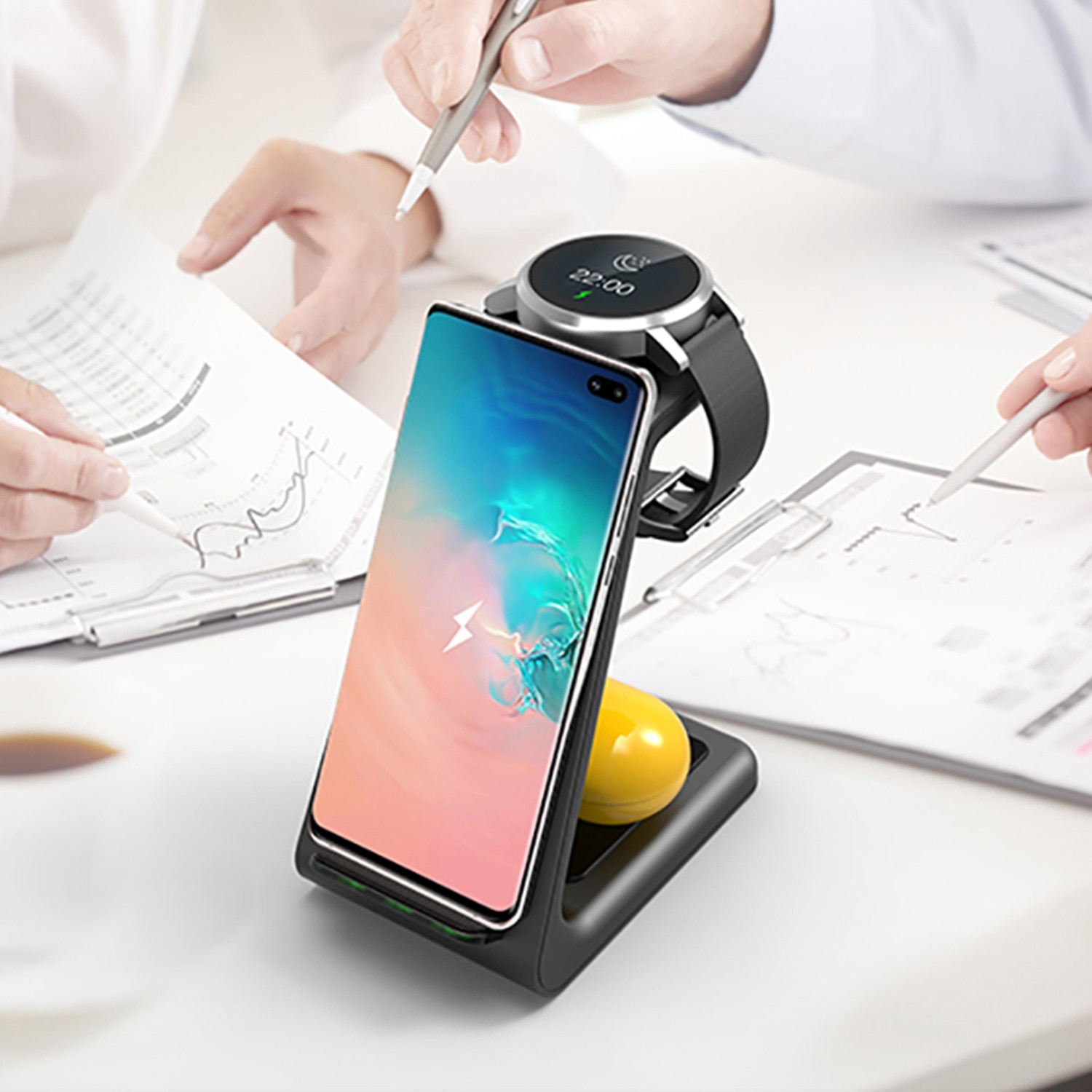 Wireless desktop charger for iPhone 12, 11, watch, airplads, 3 in 1, wireless charging station, For