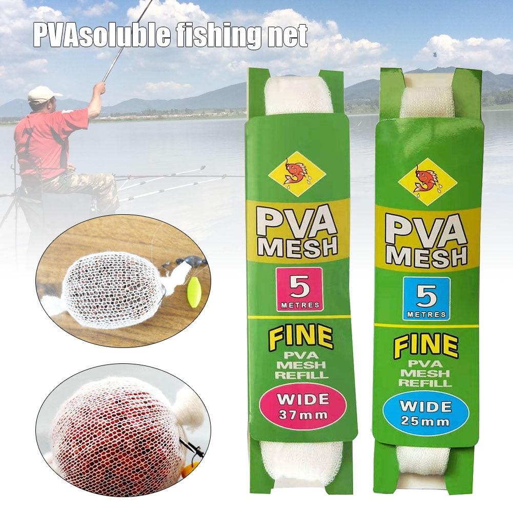 2 pces pva 25/37mm recarga de malha carpa pesca estocagem boilie equipamento isca sacos solúvel em água isca de pesca lança rede de malha