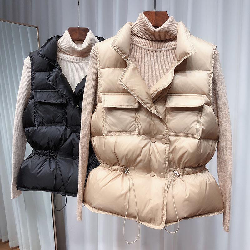 2020 New Ultra Light Down Vest Women Short Vest Windproof Lightweight Warm Waistcoat Female White Du