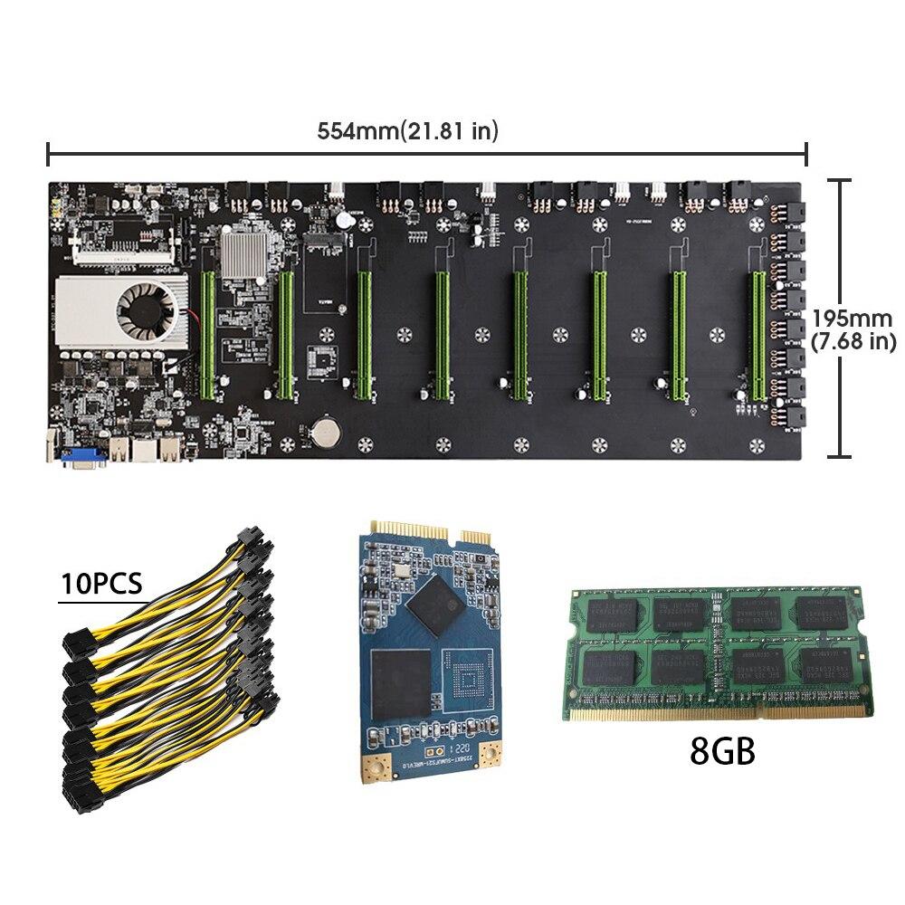 BTC-D37 Riserless Mining Motherboard 8 GPU Bitcoin Crypto Etherum Mining Set with 8GB DDR3 RAM 1037U 128GB mSATA SSD Power Cable