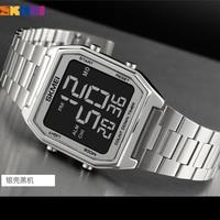 SKMEI 2 Time Мужские Цифровые спортивные часы бренд обратный отсчет секундомер модные светодиодные электронные наручные часы мужские Reloj Hombre