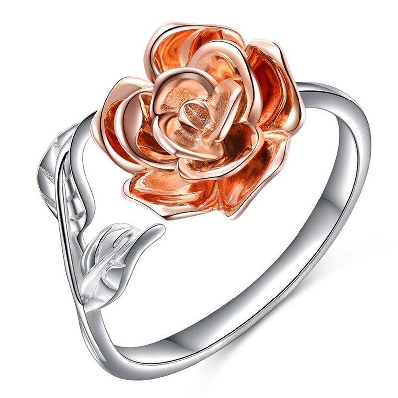 Женское кольцо в винтажном стиле, Открытое кольцо с розовым узором для свадьбы, юбилея, вечерние ювелирные изделия