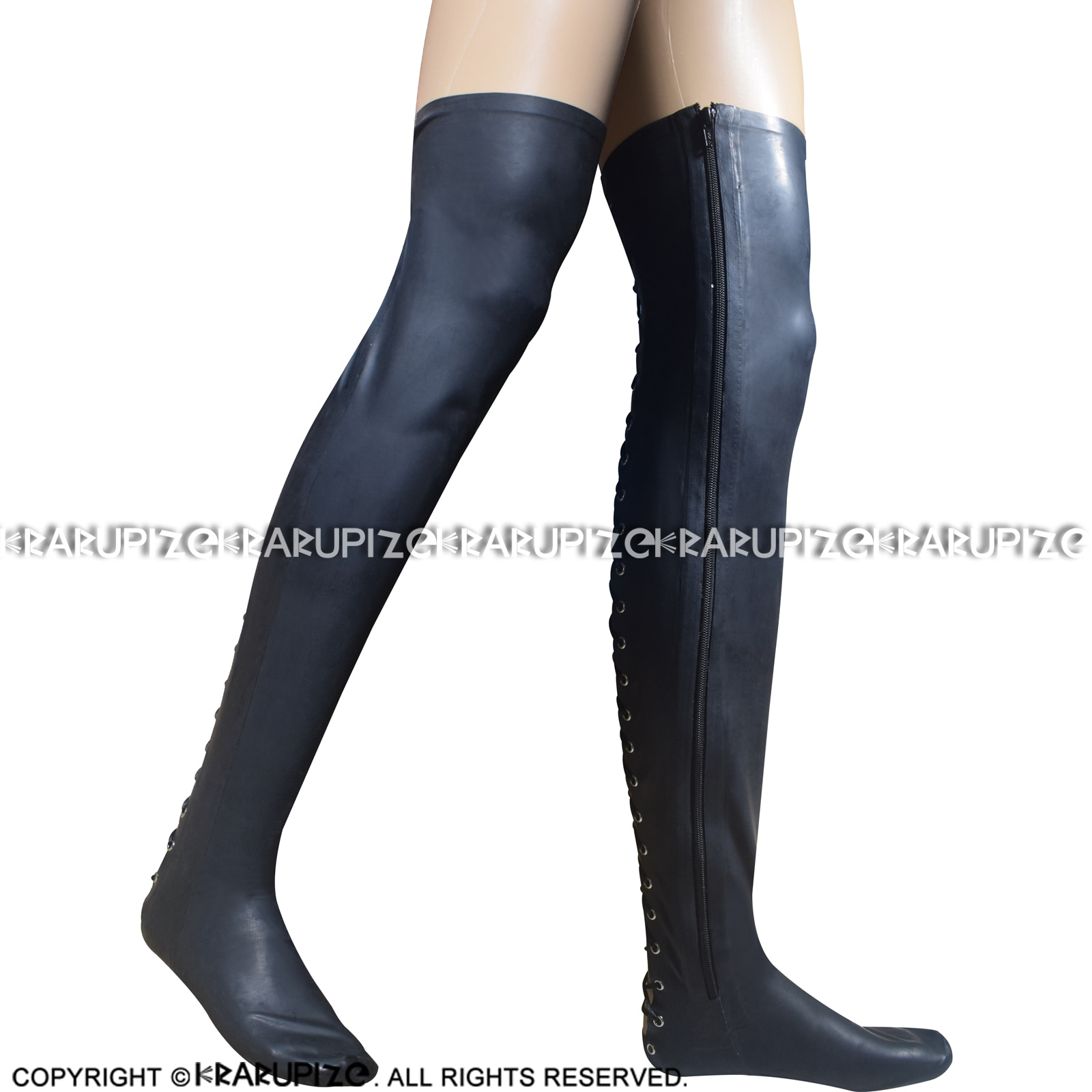 Autumn Black Sexy Long Latex Thigh High Stockings With Zippers At Sides And Lacing Back Rubber Stocking WZ-0062