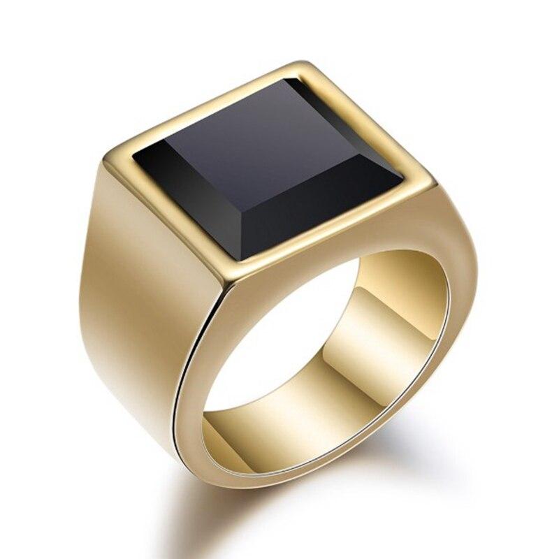 Anel de sinal masculino preto grande opala 316l aço inoxidável jóias masculino charme anel de casamento