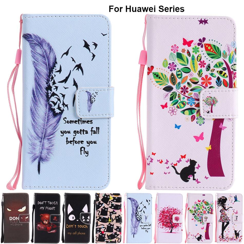 Кожаный чехол-подставка с держателем для карт B128, чехол для Huawei P8 Lite 2017 P9 P10 P20 P30 Pro Mate 9 10 20 X Honor 9 Lite