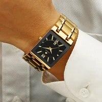 wwoor new luxury bracelet watch for men square quartz wristwatches stainless steel waterproof date sport clock relogio masculino