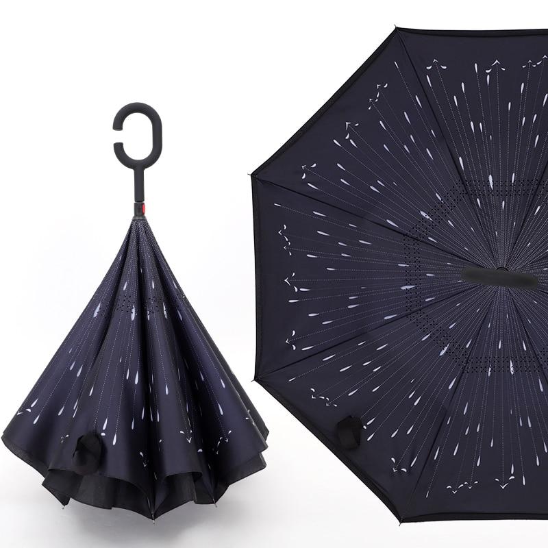 Automatic Reverse Travel Umbrella Automatic Luxury Inverted Waterproof Car Long Handle Umbrella Wedding Paraguas Rain Gear DG50Y enlarge