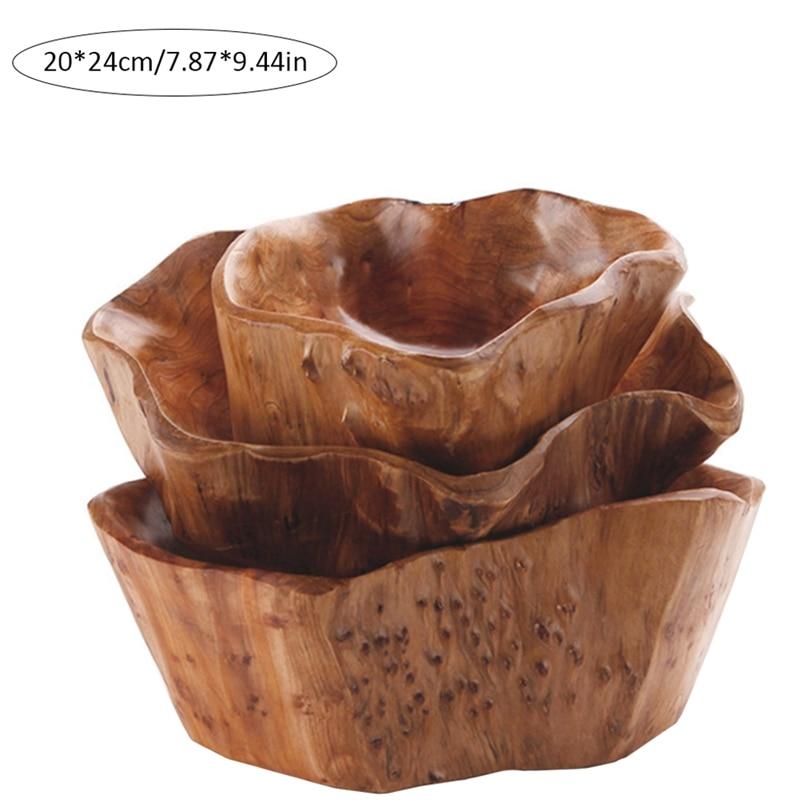 Бытовая чаша для фруктов, деревянная тарелка для конфет, тарелка для фруктов, тарелка для фруктов с резьбой по дереву, 20-24 см-2