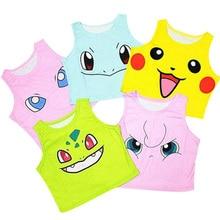 Tank Top Pokemon Pikachu Cartoon Schildpad Sexy Mouwloos Vest Voor Vrouwelijke Vrouwen T-shirt Korte Crop Tube Vrouwen Tank Vest katoen