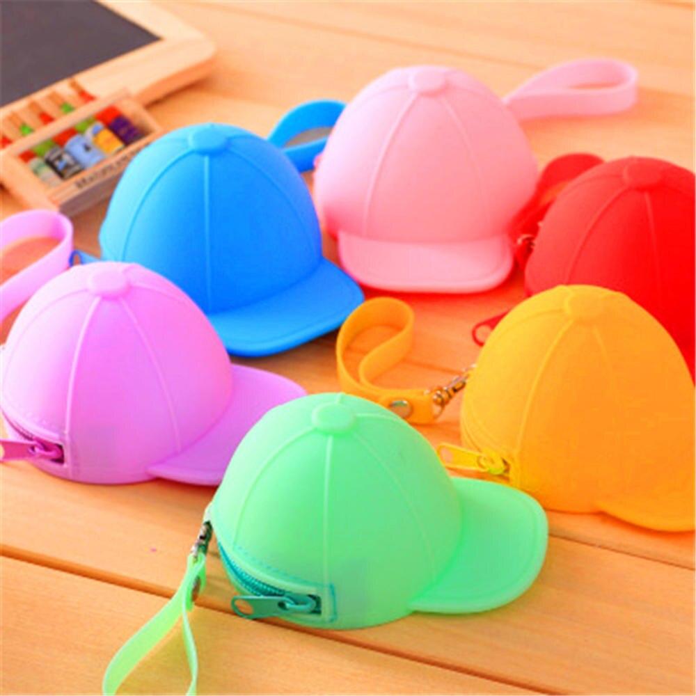ISKYBOB silicone Baseball Cap Coin Bag Korea Design Cute Hat key Card Holder Earphone Organizer Smal