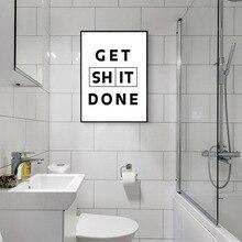Obtenir merde fait affiche minimaliste toile peinture noir jaune citations Art imprimer nordique mur photos salle de bain Art décoration