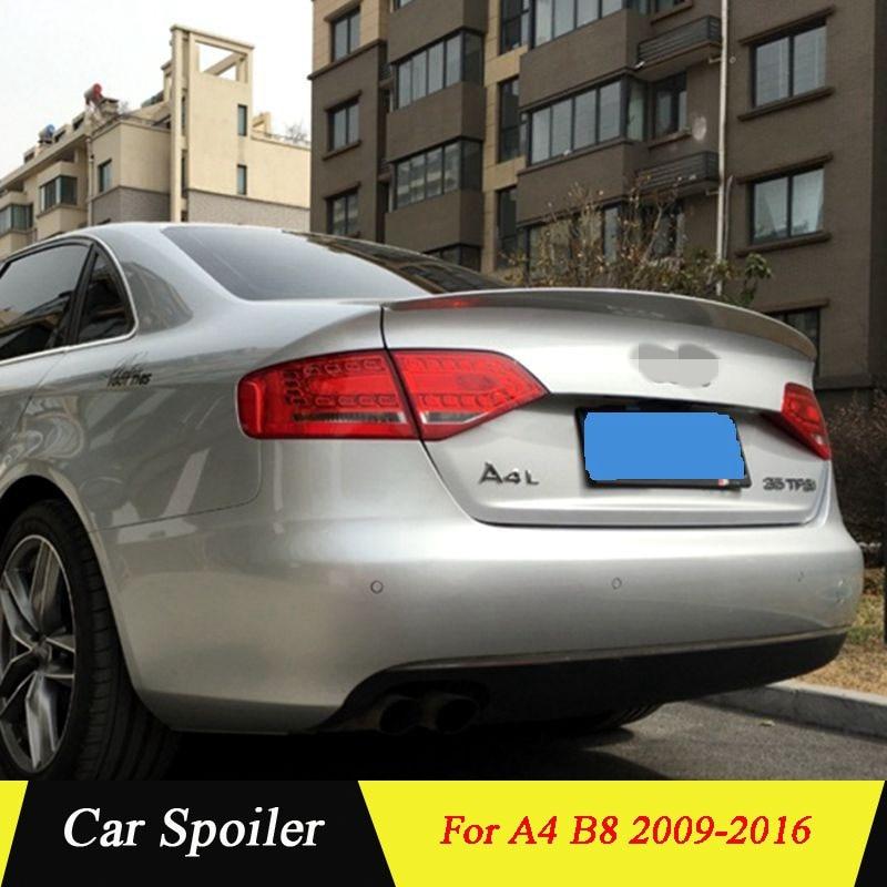 Para Audi A4 B8 2009 2010 2011 2012 2013 2014 2015 2016 ABS Plástico de alta qualidade Tronco Traseiro Asa Spoiler