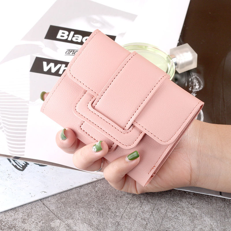 Wallet Women 2020 Lady Short Women Wallets Red Color Mini Money Purses Small Fold PU Leather Female Coin Purse Card Holders contact s fashion genuine leather women wallet small standard wallets coin bag brand design lady purse card holders red brown