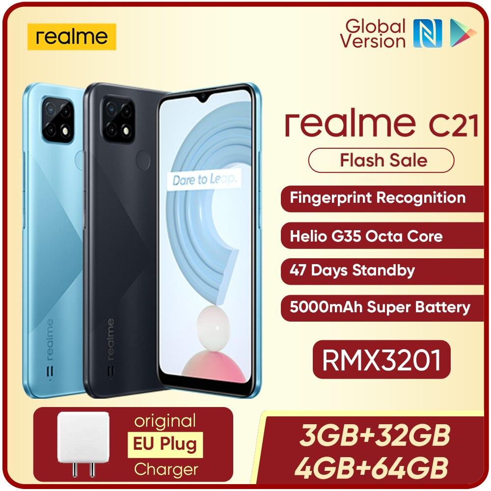 [World Premiere In Stock]realme C21 Global Version Smartphone Helio G35 Octa Core 6.5