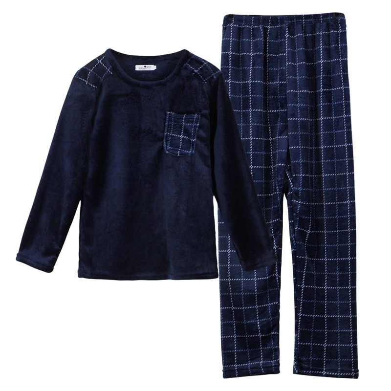 Мужской длинный рукав одежда для сна верх% 2B брюки повседневная домашняя одежда одежда мужчины% 27 зима пижамы комплект осень зима тепло фланель утолщение пижамы