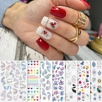 streak nails sticker nail art decorations heart flower irregular decals water transfer sliders woman foil manicures t1034