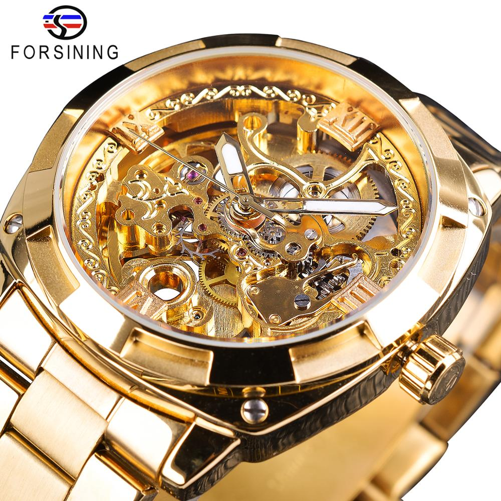 2018 t winner men watch automatic mechanical wristwatch top luxury brand golden metal strap male skeleton clock hot fashion gift Forsining Fashion transparent Retro Men's Automatic Mechanical Watch Top Brand Luxury Full Golden Luminous Hands Skeleton Clock