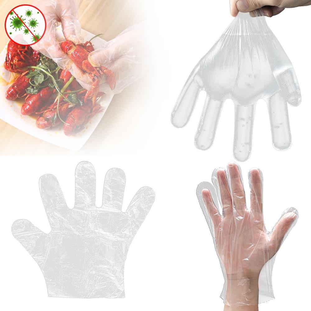 Guantes desechables de plástico para alimentos 100/300 Uds., guantes desechables para restaurante, cocina, barbacoa, guantes ecológicos para alimentos, guantes para frutas y verduras