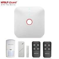 Wolf-Guard     systeme dalarme de securite domestique intelligent sans fil  wi-fi 2 4 ghz  capteur de porte  detecteur de mouvement PIR  controle par application  433MHZ