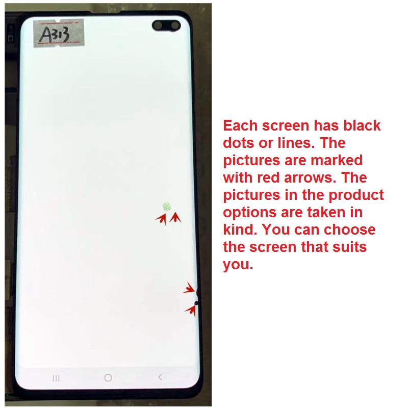 Original AMOLED With Line or Black dot For SAMSUNG Galaxy S10+ S10PLUS LCD G975F G975U Display Touch Screen Replacement Parts enlarge