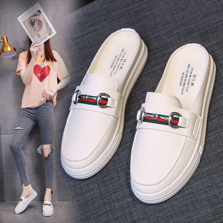 Lazy Little White Half Slippers Women s Summer New Net Red Versatile Student Flat Bottom Breathable Cool