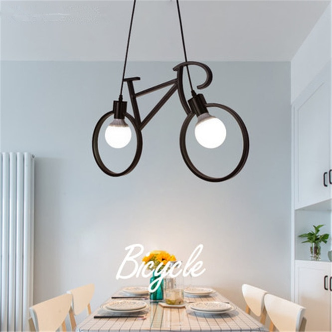 Bicycle shape Metal chandelier Creative Iron Ceiling Lamp E27 Bulb Home Lighting Fixture Nordic Party Led lamp Home decoration