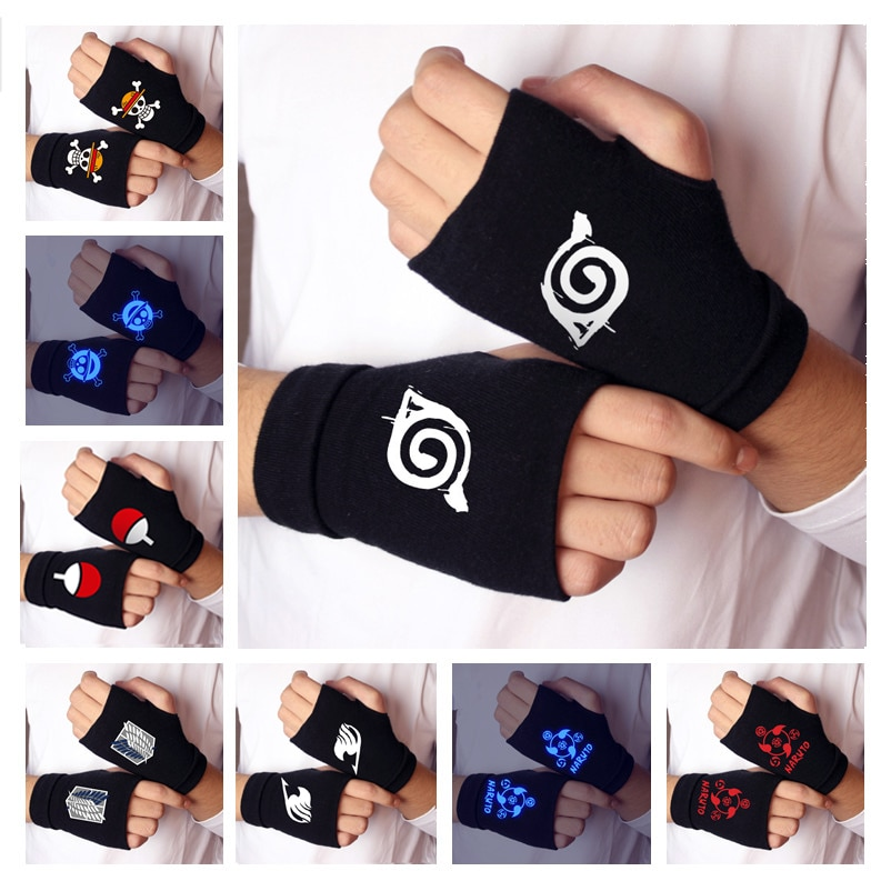 Naruto Half Finger Gloves Anime One Piece Attack On Titan Fairy Tail Sailor Moon Tokyo Ghoul Cosplay