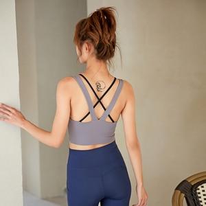 Gathered back sports underwear women's shockproof running fitness bra bra outer wear stereotyped yoga vest
