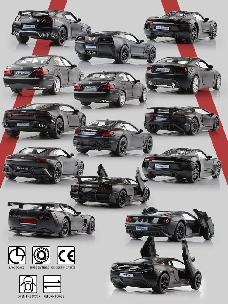 Voiture de sport en alliage moulé, modèle de Collection, cadeaux pour enfants, série couleur noir mat RMZ city 1/36, véhicules jouets toyota