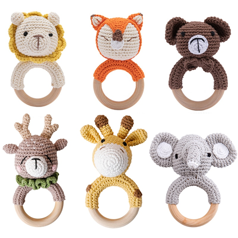 5PC Baby Rattle Toys Cartton Animal Crochet Wooden Rings Rattle DIY Crafts Teething Rattle Amigurumi For Baby Cot Hanging Toy
