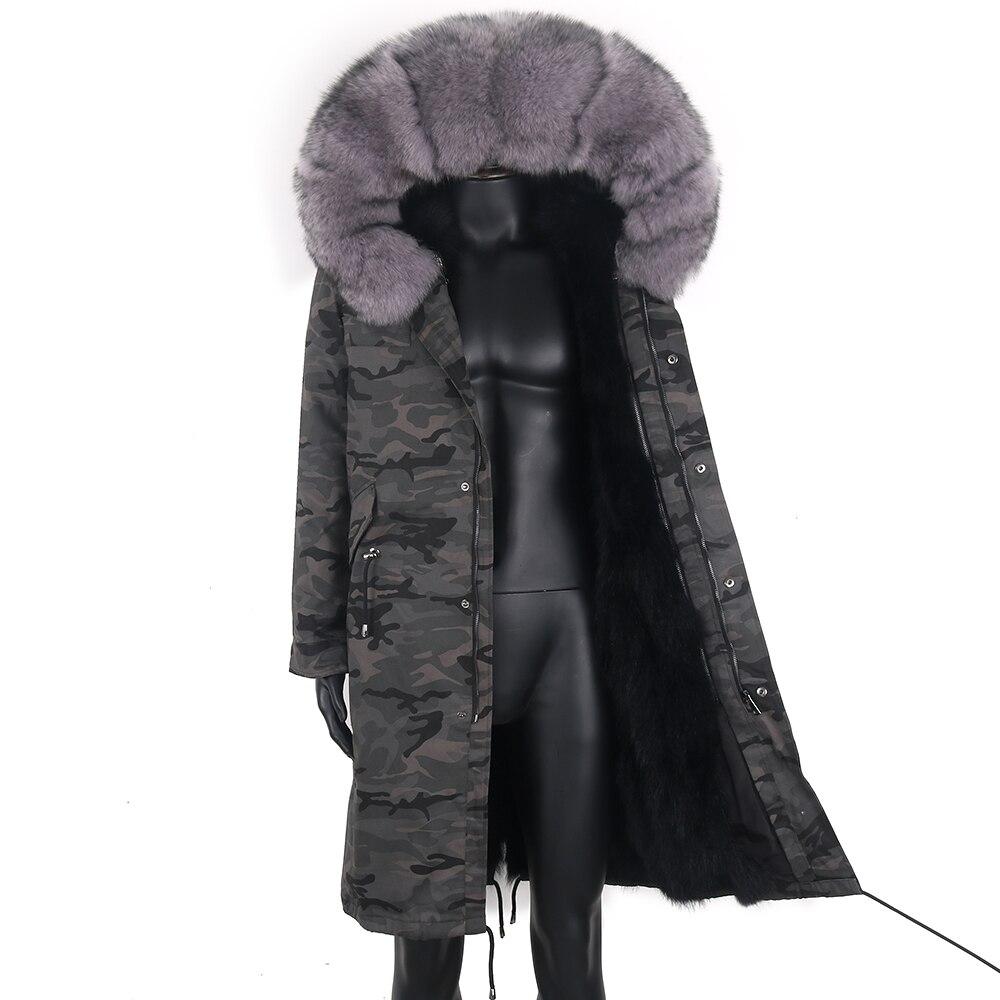 جديد لعام 2021 معطف طويل للرجال من فرو الثعلب الحقيقي مع ياقة من الفرو الطبيعي مع غطاء للرأس موضة سميكة ودافئة معطف عسكري مع تمويه للشتاء